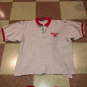 Vtg Nebraska huskers boxy polo shirt top Lg